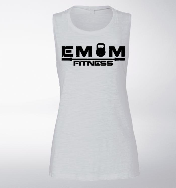 Black EMOM Fitness Loose Muscle Tank Damen - White 1