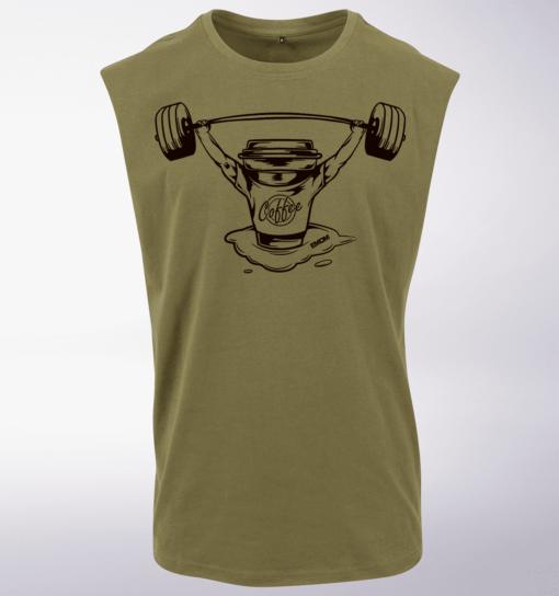 Black - Barebell & Coffee Man MuscleTank - Herren - Oliv