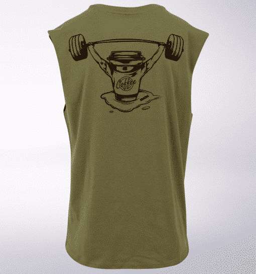 Black - Barebell & Coffee hinten Man MuscleTank - Herren - Oliv