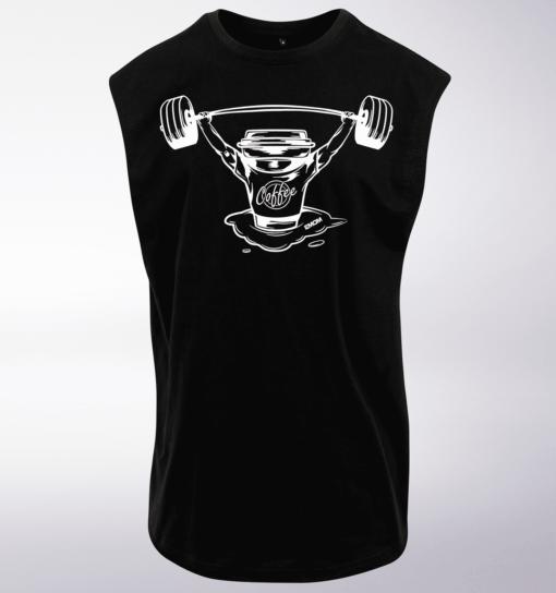White - Barebell & Coffee Man MuscleTank - Herren - Black 1