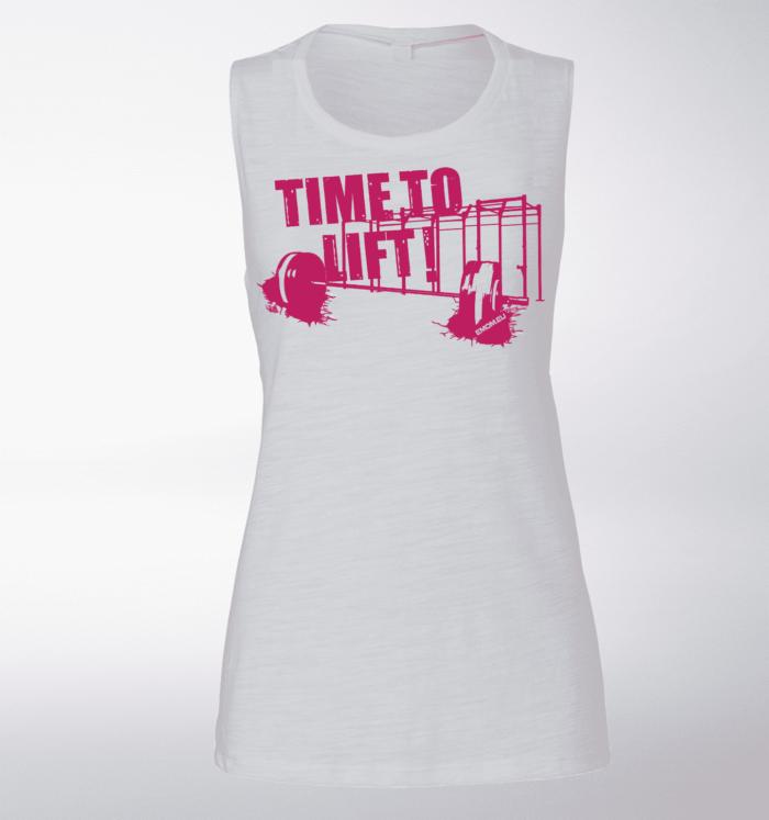 Pink Time to Lift! Loose Muscle Tank Damen - White 1