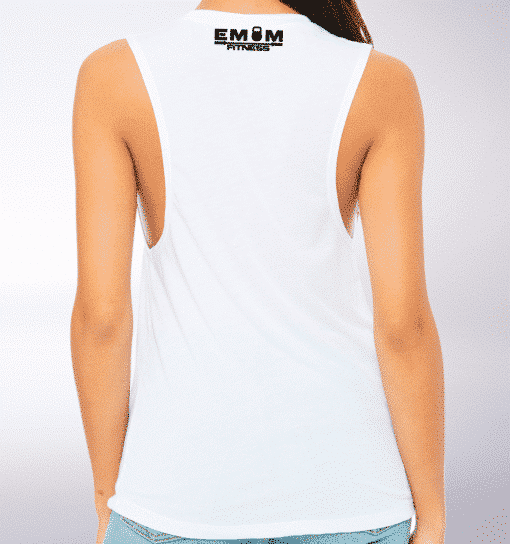 Black EMOM Fitness Loose Muscle Tank Damen - White 3