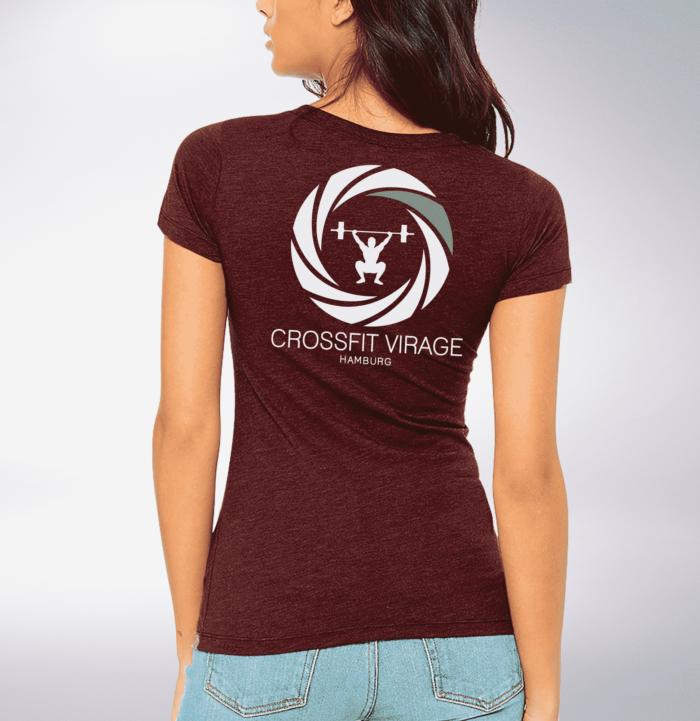 Crossfit© Virage Shirt für Damen - Maroon – Logo vorne & hinten 2
