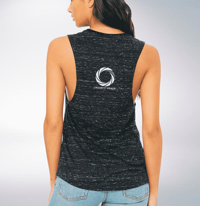 Crossfit© Virage Loose MuscleTank für Damen - Heather Black – Logo hinten & vorne 2
