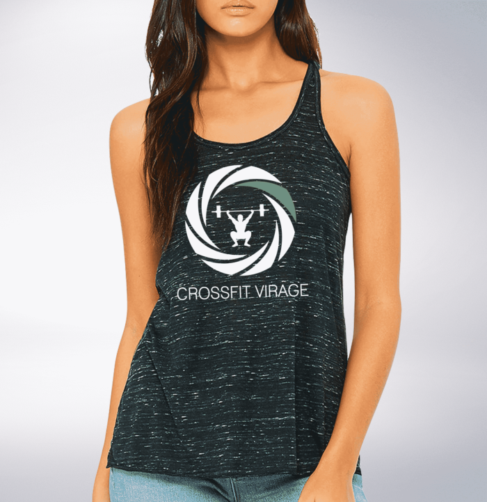 Crossfit© Virage Loose MuscleTank für Damen - Heather Black – Logo hinten & vorne 1