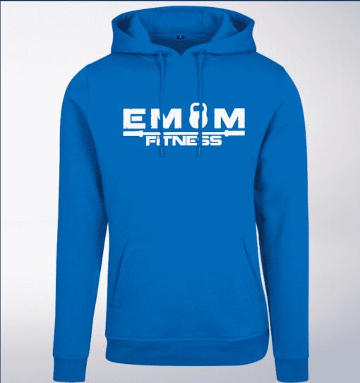 White - EMOM Fitness Unisex- PremiumHoody - Cobalt Blue 1