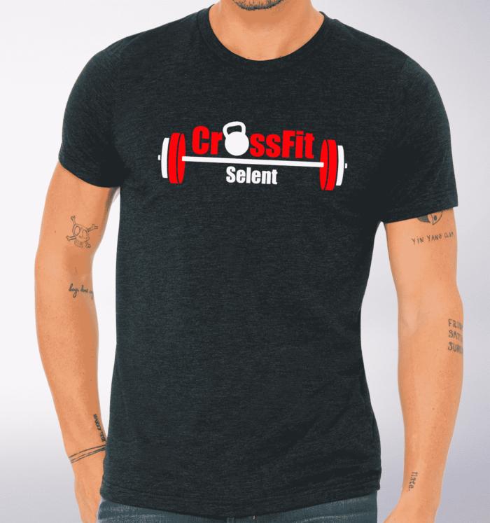 CrossFit®Selent T-Shirt für Herren Charcoal - Logo vorne&hinten 1