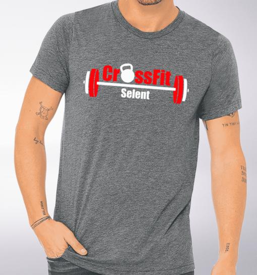 CrossFit®Selent T-Shirt für Herren Grey - Logo vorne&hinten 1