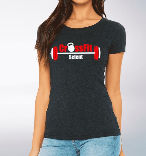CrossFit®Selent T-Shirt für Damen Charcoal - Logo vorne&hinten 1