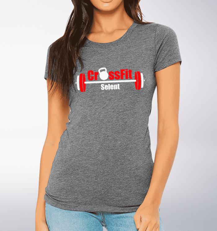 CrossFit®Selent T-Shirt für Damen Grey - Logo vorne&hinten 1