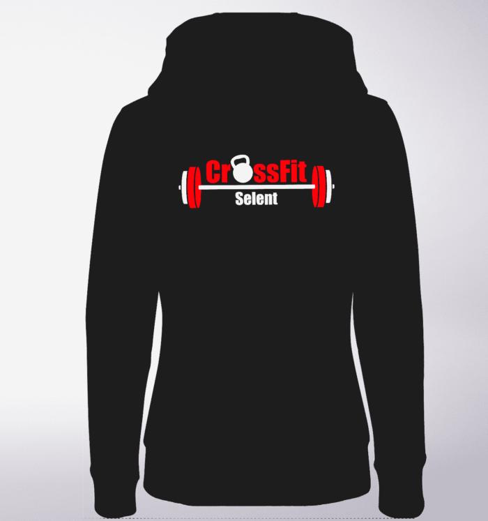 CrossFit®Selent ZIP Hoody für Damen Schwarz - Logo vorne&hinten 1