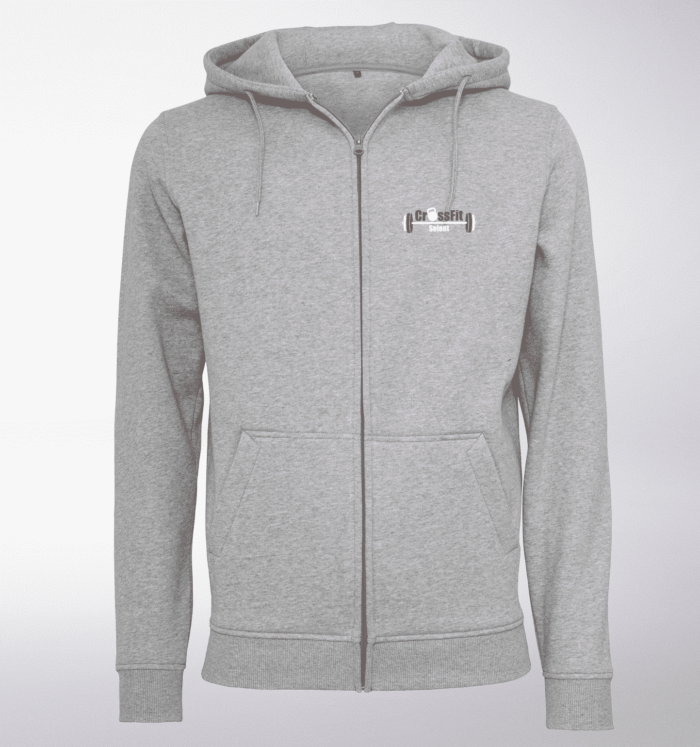 CrossFit®Selent UNISEX Zipper für Herren und Damen - Hellgrau - Logo hinten&vorne 1