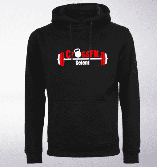 CrossFit®Selent UNISEX Hoody für Herren und Damen- Schwarz - Logo hinten&vorne 1