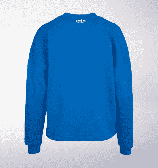 White - BarbellCoffee Damen Oversized Sweater - Blau 3