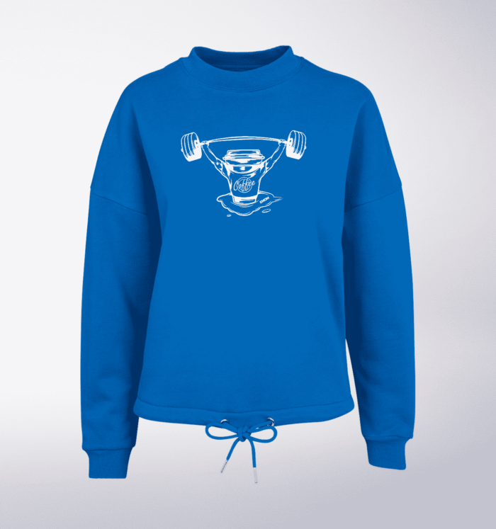 White - BarbellCoffee Damen Oversized Sweater - Blau 1