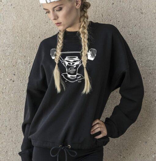 White - BarbellCoffee Damen Oversized Sweater - Schwarz 2