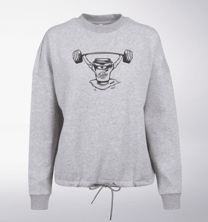 White/Black - BarbellCoffee Damen Oversized Sweater - Hellgrau 1