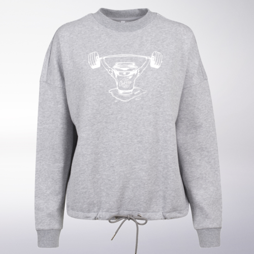 White/Black - BarbellCoffee Damen Oversized Sweater - Hellgrau 4