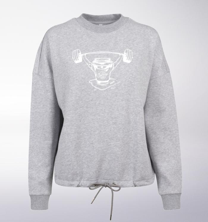 White/Black - BarbellCoffee Damen Oversized Sweater - Hellgrau 2