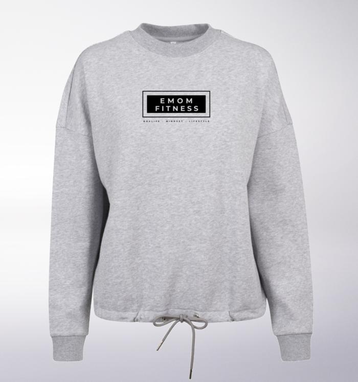 Black - Box-Mind-Life Damen Oversized Sweater - Hellgrau 1