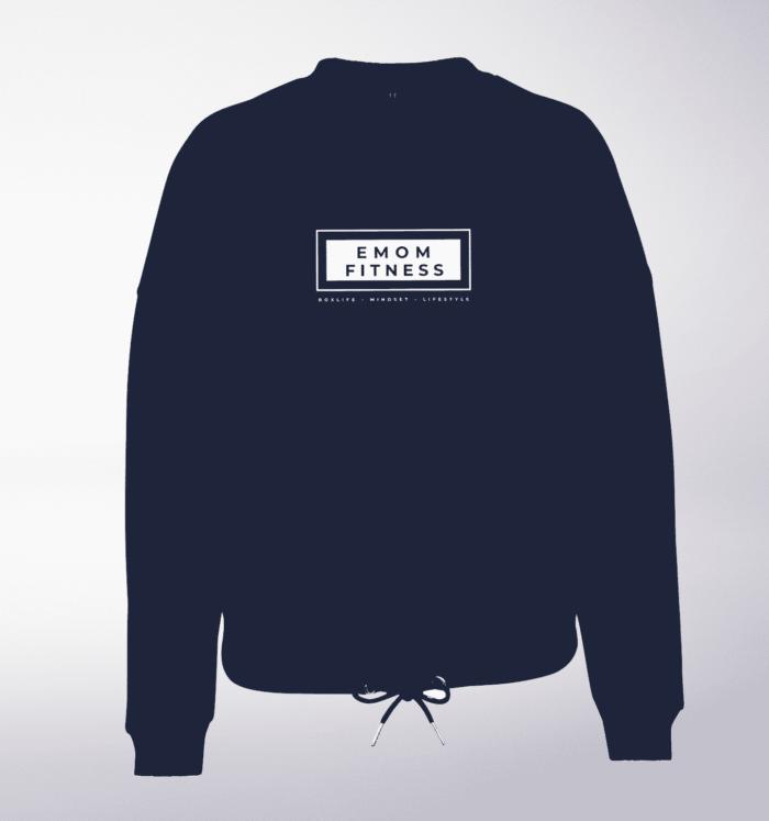 White - Box-Mind-Life Damen Oversized Sweater - Light Navy 1