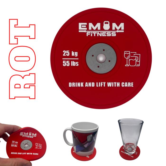EMOM Fitness® - Untersetzer / Coaster im Barbell Plate - Design - Einzeln oder auch im Set GRATIS SCHLÜSSELANHÄNGER! 6