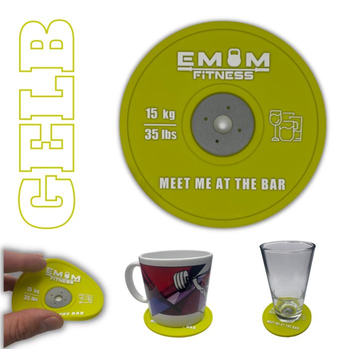 EMOM Fitness® - Untersetzer / Coaster im Barbell Plate - Design - Einzeln oder auch im Set GRATIS SCHLÜSSELANHÄNGER! 5