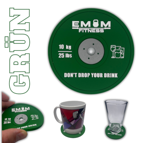 EMOM Fitness® - Untersetzer / Coaster im Barbell Plate - Design - Einzeln oder auch im Set GRATIS SCHLÜSSELANHÄNGER! 10