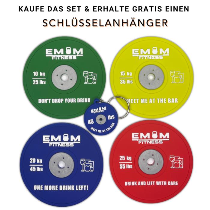 EMOM Fitness® - Untersetzer / Coaster im Barbell Plate - Design - Einzeln oder auch im Set GRATIS SCHLÜSSELANHÄNGER! 1
