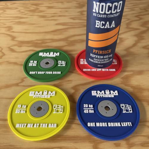 EMOM Fitness® - Untersetzer / Coaster im Barbell Plate - Design - Einzeln oder auch im Set GRATIS SCHLÜSSELANHÄNGER! 8